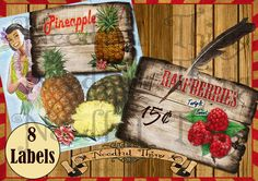 Vintage old paper retro fruits big labels cards illustration shabby shop printable digital sheet scrapbooking apothecary ephemera  by NeedfulThingShop, €3.70 scrapbook  decoration  graphic design  instant download  digital collage  shabby  decoupage cards  fruits labels  retro labels  food labels  illustrated cards  rockabilly