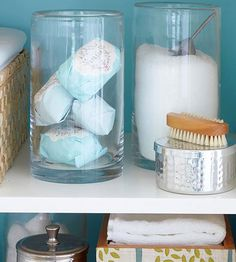 Bathroom decor - Use an assortment of pretty glass jars to house and display soaps, bath salts, and other luxury items. Creative Bathroom Storage Ideas, Small Bathroom Storage, Bathroom Organization, Bathroom Ideas, Bathroom Mirrors, Bathroom Shelves, Glass Shelves, Storage Organization, Bathroom Jars