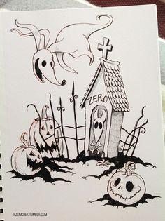 #INKtober, Inktober - Pen and Ink Sketchbook illustration - Tim Burton Nightmare before Christmas, Halloween sketch. rzomchek.tumblr.com