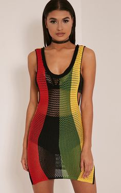 Jamaica Striped Scoop Back Knitted Dress Image 1