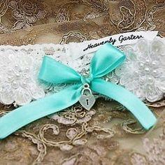 Garter made for Liesl with aqua blue ribbon and lovelock charm Wedding Garters, Garter Set, Blue Ribbon, Aqua Blue, Heavenly, Custom Design, Palette, Charmed, Colour