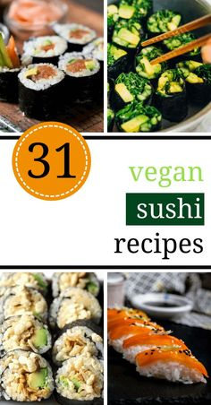 Have you been craving seafood? These Vegan Sushi Recipes are healthy, easy and are made entirely from plants! Filled with simple vegetables, brown rice, tofu...etc. Browse these homemade dinner ideas!   The Green Loot #vegan #sushi