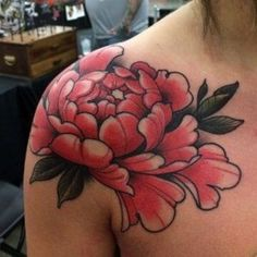33 Japanese Tattoo Sleeve Will Surely You Like with Its Detail Peony Flower Tattoos, Flower Tattoo Back, Flower Tattoo Shoulder, Peonies Tattoo, Flower Tattoo Designs, Back Tattoo, Japanese Peony Tattoo, Japanese Sleeve Tattoos, Tatoo Art