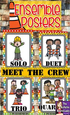 Ensemble Posters Construction Theme Construction theme in the music room is featured in these bright and colorful ensemble posters. Your students will love using these fun printables as a reference on a focus wall or bulletin board Kindergarten Music, Preschool Music, 2nd Grade Music, Rock Star Theme, Music Education Activities, Elementary Music, Upper Elementary, Music Classroom, Classroom Decor