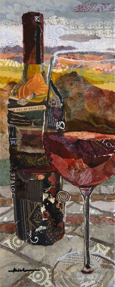 """Sunset Red"" 20 x 8 Torn Paper Collage • Althea Sassman"