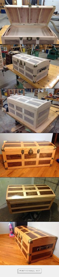 Oak and Walnut in-layed steamer trunk. Aromatic cedar bottom and thin strips inside the curved top. - created via pinthemall.net