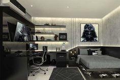 Gamer Bedroom, Bedroom Setup, Room Design Bedroom, Bedroom Layouts, Room Ideas Bedroom, Home Room Design, Small Room Bedroom, Bedroom Loft, Teen Room Decor