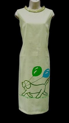 VESTED GENTRESS Vintage Novelty Signed Puppy Dog Print Green Gingham Dress Sz L