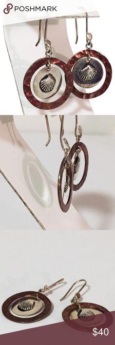 Sterling silver seashell hook earrings Vintage sterling silver hook dangle seashell disc earrings Jewelry Earrings