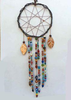 Beaded Dream Catcher, Bohemian Dreamcatcher, Boho Decor, Gypsy Dream Catcher…