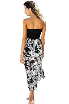 Black White Printed Strapless Long Beach Dress MB42159-1 – ModeShe.com