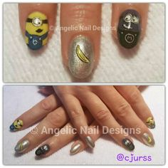 Artistic Rock Hard Liquid and Powder enhancements with Colour Gloss in and to create these two adorable and mischievous Minions. Hard Nails, Painted Nail Art, Monkey Business, Swag Nails, Minions, Class Ring, Nailart, Nail Designs, Powder