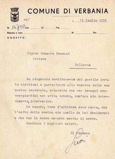 1955 Lettera del Sindaco di Pallanza