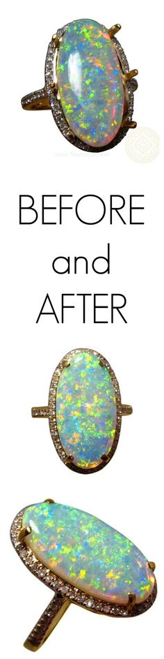 A stunning big opal and diamond ring which was understandably difficult to imagine on the hand especially with the prongs standing tall. The top photo shows the opal placed in the ring and is advertised this way so customers have the opportunity to have the ring made in their ring size and in the gold color they wear - or even to choose another setting. The after photos show the prongs securing the opal and the ring now finished beautifully ready to wear and admire.
