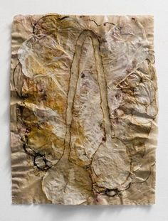 by Nancy Cohen Perspective Drawing, 2010, Handmade paper with paint, rust, paper pulp and rubber,	21 x 16 inches