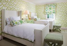 f schumacher zimba wallpaper | kids wingback beds | green and tan bedroom