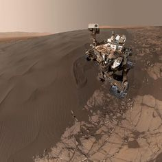 """Mars Selfie: Our Curiosity Rover has perfected taking selfies on Mars. This self-portrait shows the rover at the ""Namib Dune,"" where it has been scooping…"""