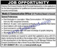 #prcsjobs2021 #prcsindhjobs2021 #ngojobsinkarachi2021 Pakistan Red Crescent Society Karachi is recruiting well qualified and experienced candidates to fill the Media and Communication Officer Jobs in Pakistan. In these PRCS Jobs in Sindh 2021, male/female from across the city can apply who have post graduate degree in mass communication with minimum 10 years of related experienced.
