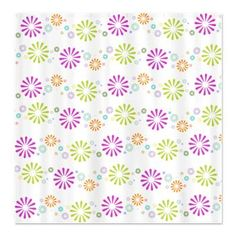 Retro Springy Colorbursts Shower Curtain