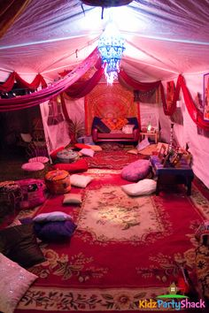 Check out this decor at a Bollywood party! See more party ideas at… Sleepover Party, Slumber Parties, Birthday Parties, 21st Birthday Themes, Teen Parties, Girl Sleepover, Sleepover Activities, Teen Birthday, Spa Party