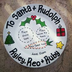 Personalised Handpainted Christmas Eve Plate Decorations Tree Father Christmas Santa & Rudolph Food Holiday Keepsake