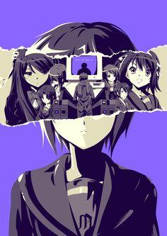Doubt - Disappearance of Haruhi Suzumiya poster Art Print by Chris Lejman - X-Small Anime Naruto, Anime Guys, Manga Anime, Angel Beats, Haruhi Suzumiya, Kyoto Animation, Nisekoi, Minimalist Wallpaper, Anime Characters