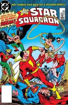 All-Star Squadron (1981-1987) #36  Captain Marvel fights Superman while under the thralls of the Axis regime.