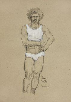 White vest and pants (hand on hip) 1974 Conté & gouache on coloured paper 30.5 x 11.4