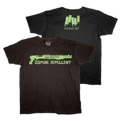 Resident Evil Zombie Repellent Men's T-Shirt: A    100% cotton black mens t-shirt with front and back print design.