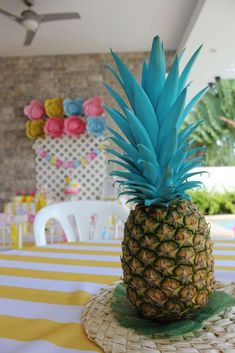 """Flamingos and pineapples at the cabana"" 