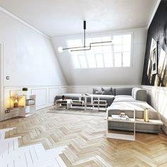 moderna camera con letto dalla struttura e testata bianca, parete ...