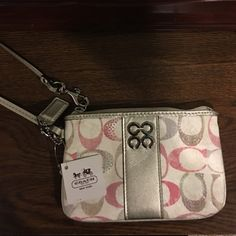Coach Wristlet NWT White Silver and Pink Coach Wristlet NWT Coach Bags Clutches & Wristlets