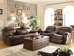 Brown Jacket Microfiber Reclining Sofa Loveseat Drop Down Console Cup