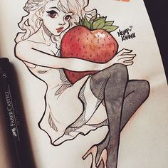 Pin-up Inktober #21: Strawberry I enjoyed drawing this one  #neimytober #inktober #inktober2017 ⋆ ⋆ ⋆ Supplies used: Canson Artbook Sketch, Prismacolor Col-erase Pencil, Faber Castel Pitt Artists Pens, Kuretake Watercolor