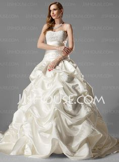 Ball-Gown Sweetheart Chapel Train Satin Wedding Dresses With Ruffle Lace Beadwork (002000451) - JJsHouse.com