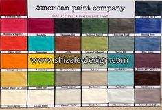 Color Chart of american paint company shizzle design colors chalk paint Paint Color Chart, Paint Color Schemes, Color Charts, Paint Companies, Paint Brands, Furniture Update, Furniture Ideas, Chalk Paint Finishes, American Paint Company
