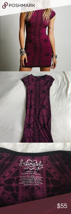 Free People Printed Bodycon This dress is amazing! It looks tiny off but it fits an XS as it is a bodycon. I only wore it once and it is in perfect condition with no signs of wear. Free People Dresses Mini