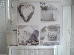 60cm Lavendel Herz Telefon weiß Canvas Wandbild Bild shabby chic Landhaus French | eBay