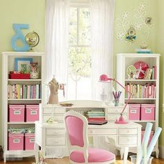 Pretty in pink home office could convert to sewing room. My New Room, My Room, Spare Room, Pink Home Offices, Pink Office, Feminine Office, Space Crafts, Craft Space, Sewing Rooms