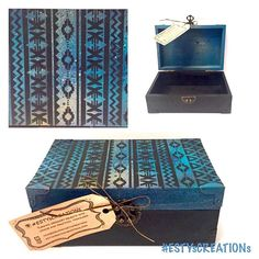 #water and #pattern keepsake box by #ESTYsCREATIONs