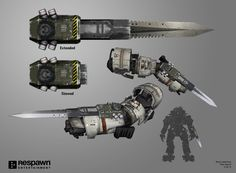 Various concepts for Titanfall 2's digital armory. Some of these made it into the game, while some didn't get enough traction to ship.