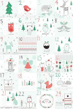 The last day of my advent, nice to see all the illustrations together and a christmas pattern to finish it all off! Christmas Countdown, Christmas Calendar, Christmas Mood, Noel Christmas, Christmas Projects, Christmas Themes, All Things Christmas, Christmas Decorations, Xmas