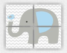 Baby BOY Nursery Wall Art Jungle Animals by myfavoritedecor