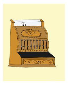 Vintage Cash Register- 8X10 Illustration print. $16,00, via Etsy.