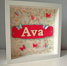 Personalized Children Art - Butterfly Design - Pink and Blue Butterflies - Kid's Wall Art - Girl's Room - 3D Paper Art. $30.00, via Etsy.