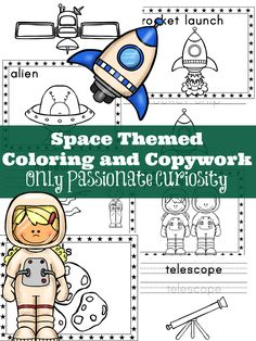 Space Themed Coloring and Copywork Printable