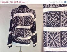 Holiday Sale Vintage 80s Chunky Sweater Ski #sixcatsfunVINTAGE #chunkysweater #etsyonsale #skisweate #snowflake