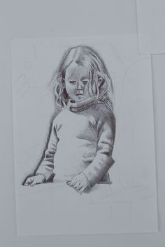 Pen research drawing of Matilda in her own little world.