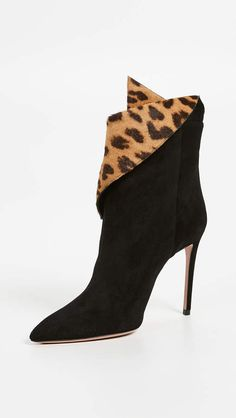 0f6e5e64b828 Aquazzura Night Fever Booties - Black ankle boots designer high heel booties  with folded leopard print design
