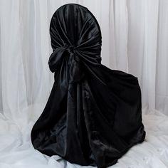 Chair Bows, Chair Sashes, Wedding Table Settings, Wedding Chairs, Wedding Reception, Wedding Dress, Black Wedding Themes, Gothic Wedding Ideas, Witch Wedding